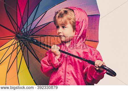 Cute Little Boy Are Preparing For Autumn Rain Day. Cheerful Boy In Raincoat With Colorful Umbrella.