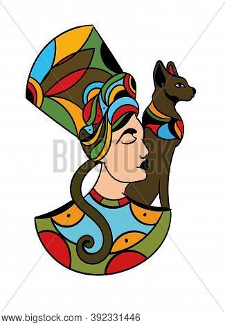 Art Tattoo Picture Of Woman With Cat. Egyptian God, Queen. Colorful Tattoo. Ancient Egypt Mythology.