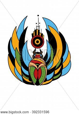 Art Tattoo Picture Of Beetle. Colorful Tattoo. Ancient Egypt Mythology. Ancient Civilization Art Des