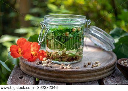 Preparation Of Nasturtium Tincture In A Glass Jar, With Fresh Bloomingtropaeolum Majus Plant