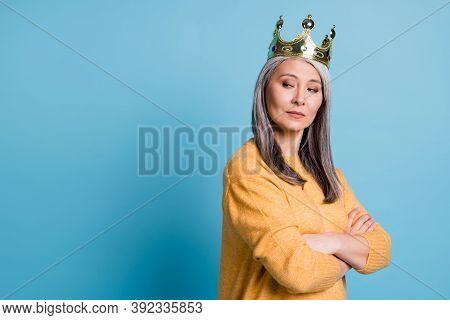 Kneel Before Queen. Photo Of Stunning Gorgeous Elegant Senior Lady Arrogant Look Smug Smile Crown He