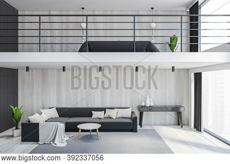 Living Room With Big Grey Sofa And A Bed On The Second Floor, Home With Two Floors. 3d Rendering Of