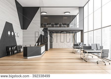 Reception Hall With Desk And Tables With Computers Near Big Window, Business Centre With Skyscrapers