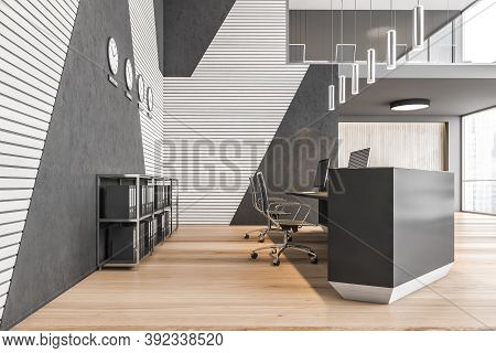 Reception Hall With Desk With Computers. Two Floors Lobby Open Space Business Room, Black Walls And