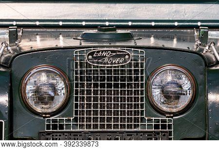 Pilsen, Czech Republic - September 9, 2020: Logo Of Old Land Rover Vehicle In Pilsen, Czech Republic