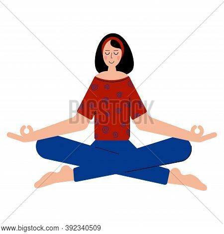 Woman Meditate To Feel More Relaxed And Free. Meditation Helps To Feel More Calm. Meditating In Yoga