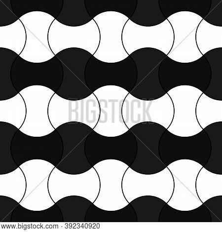 White Interlocking Blocks Lines On Black Background. Seamless Surface Pattern Design With Ethnic Orn