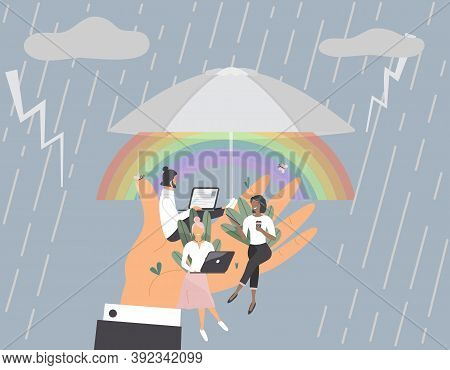Tiny Office Workers Sitting On Huge Hand Under Umbrella. Concept Of Good Comfortable Environment At