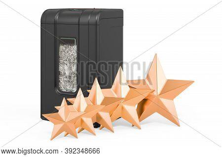 Customer Rating Of Paper Shredder, Concept. 3d Rendering Isolated On White Background