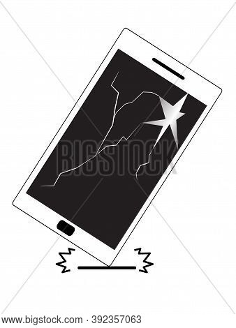 Phone Falls Icon On White Background. Broken Screen Sign. Phone Is Dropping On The Ground Symbol. Sc