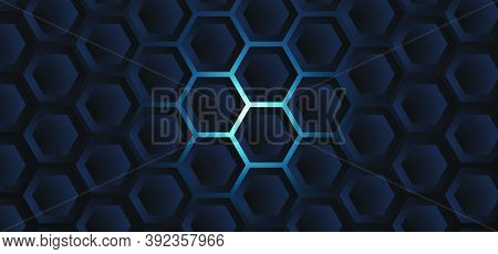 Abstract Neon With 3D Dark Hexagon Elegant Background