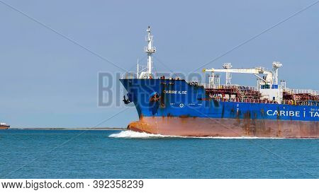 Port Aransas, Tx - 28 Feb 2020: The Bow Of The Caribe Isle, A Crude Oil Tanker, As It Sails On The W