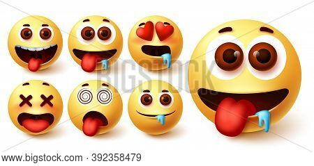 Emoji Hungry Vector Set. Emoji Avatar Character Face In Hungry, Silly, In Love, Happy And Dizzy Feel
