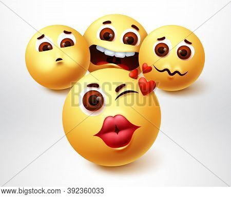 Emoji Lovely Character Vector Design. Emojis Of Suitors Emoticon In Pouty Lips With Suitor In Love E