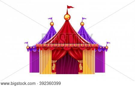 Entrance of circus marquee tents with red curtains, bulbs and flag. isolated on white transparent background. 3D illustration.