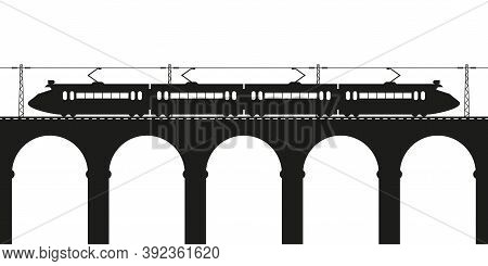 Suburban Electric Train On The Viaduct. Vector Silhouette.