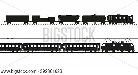 Freight Train And Passenger Train Black Vector Silhouette. Diesel Locomotive And Electric Locomotive