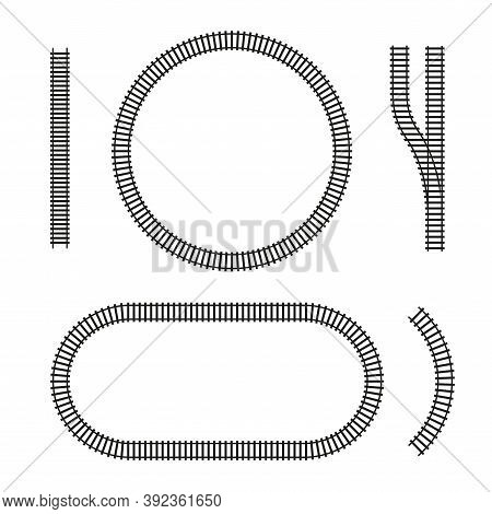 Curved Vector Railroad Isolated. Straight, Circle, Oval, Arc, Fork, Railway Arrow, Design Elements O