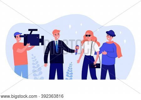Happy Journalist Interviewing Celebrity. Camera, Microphone, Star Flat Vector Illustration. Televisi