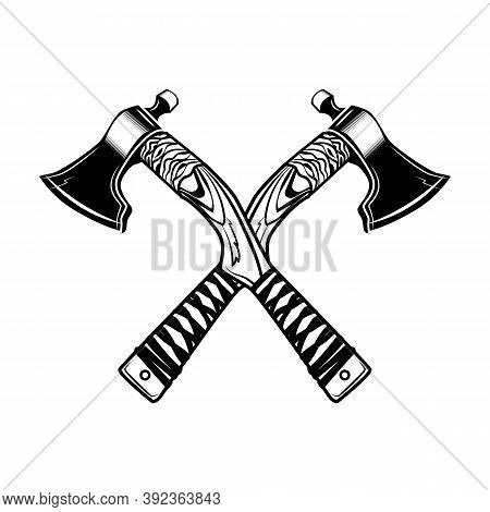 Crossed Axes Vector Illustration. Medieval Vikings Weapon, War Or Battle Accessory. History Or Fight