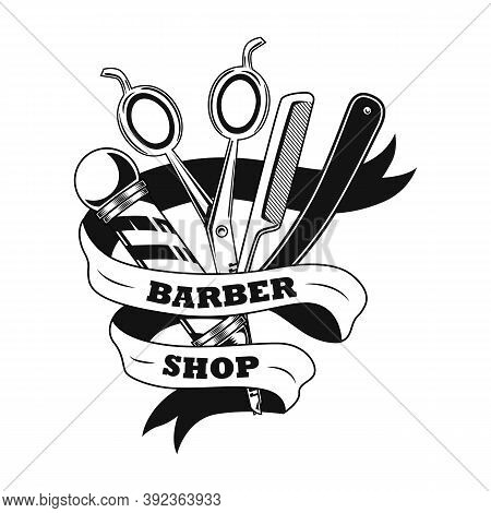 Barber Tools Vector Illustration. Scissors, Shaving Razor, Pole And Ribbon With Text Sample. Hairsty