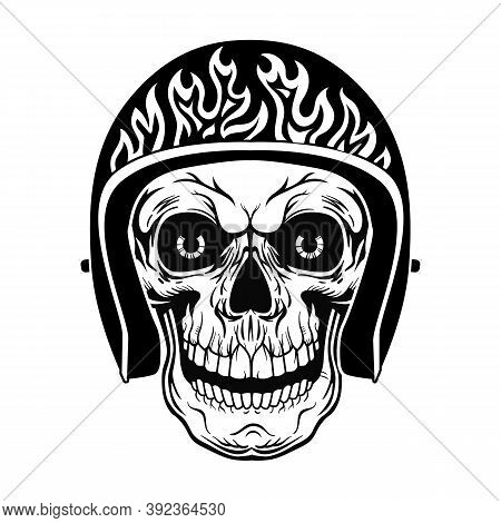 Vintage Skull In Helmet With Flame Vector Illustration. Black Dead Head Of Biker. Tattoo Design And