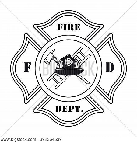 Fire Dept Emblem With Helmet Vector Illustration. Ax, Ladder, Heraldry And Ribbon. Rescue Concept Fo