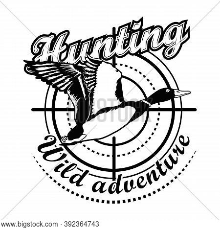 Hunting Adventure Vector Illustration. Aiming At Flying Duck With Text. Hunting Animals Concept For