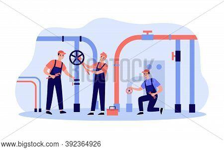 Happy Plumbers Fixing Leakage In Boiler Room Isolated Flat Vector Illustration. Cartoon Handymen Rep
