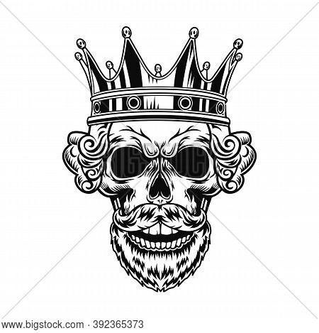 Skull Of King Vector Illustration. Head Of Character With Beard, Royal Hairdo And Crown. Authority C