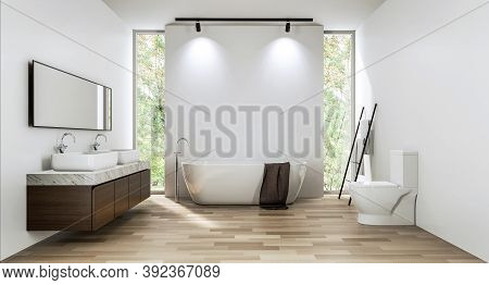 Modern Contemporary Bathroom With Empty White Wall Backdrop 3d Render. Room With Wood Floors. There