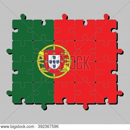 Jigsaw Puzzle Of Portugal Flag In 2:3 Vertically Striped Of Green And Red, With Coat Of Arms Of Port