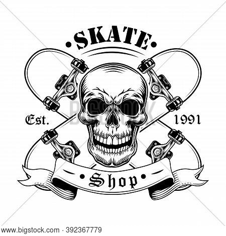 Skater Skull Vector Illustration. Head Of Character With Crossed Skateboards And Text. Extreme Sport