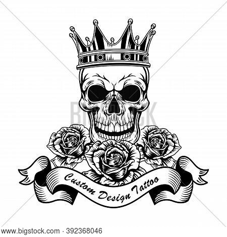 Black Skull In Crown And Roses Vector Illustration. Vintage Dead Head Of King. Tattoo Design, Art An