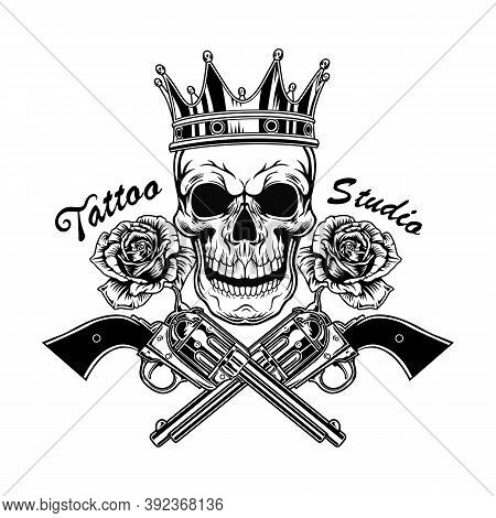 Retro Tattoo With Skull In Crown Vector Illustration. Vintage Dead Head Of King, Roses And Crossed W