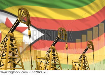 Zimbabwe Oil And Petrol Industry Concept, Industrial Illustration On Zimbabwe Flag Background. 3d Il