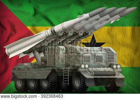 Tactical Short Range Ballistic Missile With Arctic Camouflage On The Sao Tome And Principe Flag Back