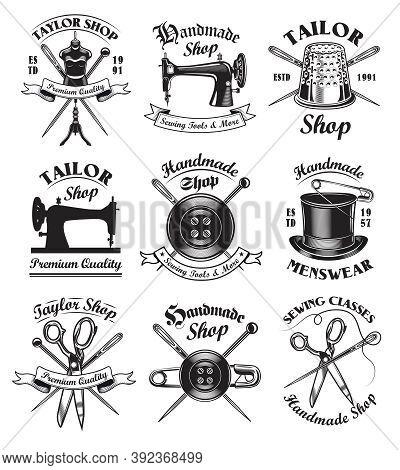 Tailor Shop Emblem Templates Set. Vector Illustrations Of Sewing Machines, Needles, Thimbles, Pins A