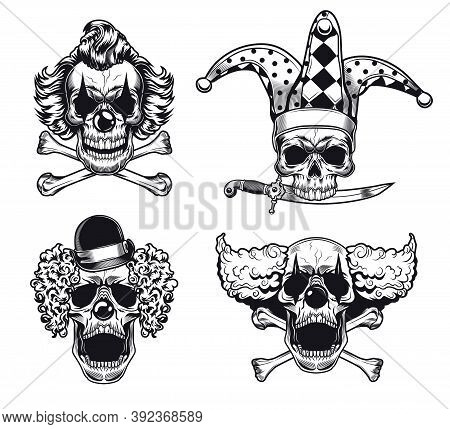 Scary Clowns Skulls Vector Illustrations Set. Collection Of Monochrome Creepy Comics In Hats With Cr