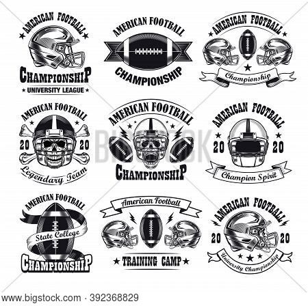 Monochrome American Football Emblems Vector Illustration Set. Vintage Signs Or Sticker For Team With