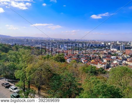 Bird's Eye View Of Ankara - The Capital Of Turkey. Summer-autumn Panorama Of The City From The  Wall