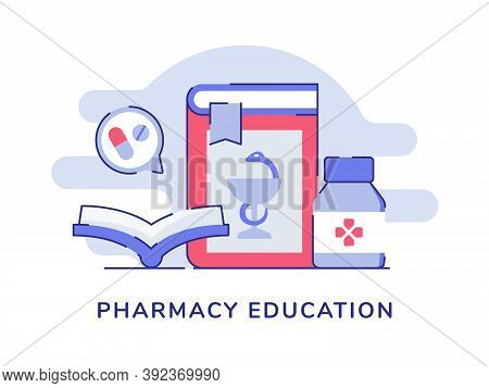 Pharmacy Education Open Book Drug Pharmacy White Isolated Background With Flat Color Outline Style