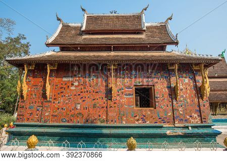 Beautiful Building Decoration With Mosaic In Wat Xieng Thong, One Of Laos Most Beautiful And Richly