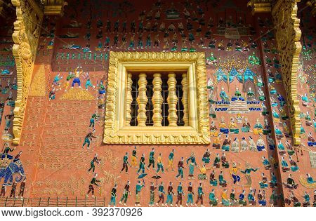 Beautiful Building Wall Decoration With Mosaic In Wat Xieng Thong, One Of Laos Most Beautiful And Ri