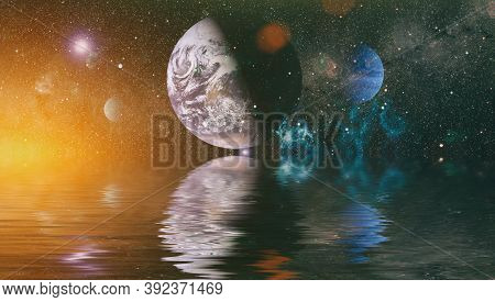 Earth Beautiful Unusual Space Planet In Space Reflected In Water. Galaxy Stars Night Sky ,elements O