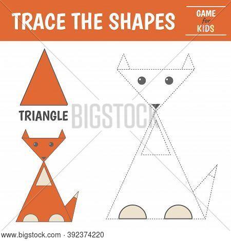Learn Geometric Shapes - Triangle. Preschool Worksheet For Practicing Motor Skills. Fox Of Geometric