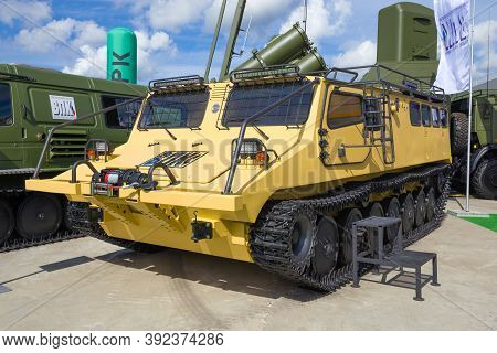 Moscow Region, Russia - August 25, 2020: Newest Russian All-terrain Vehicle