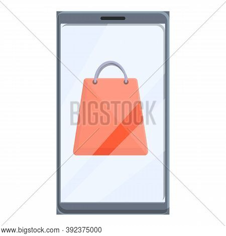 Shop Bag Online Shopping Icon. Cartoon Of Shop Bag Online Shopping Vector Icon For Web Design Isolat