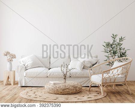 Farmhouse Living Room Interior Background, Wall Mockup, 3d Illustration