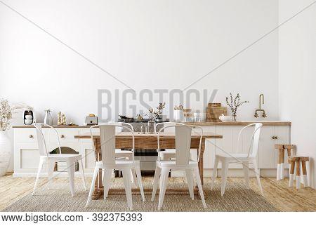 Farmhouse Style Kitchen Interior Background, 3d Illustration